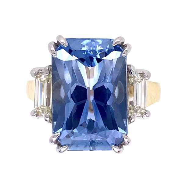 Closeup photo of 18K 2tone 10.23ct Octagonal Blue Sapphire Ring GIA#6214109897, .70tcw diamonds 9.5g