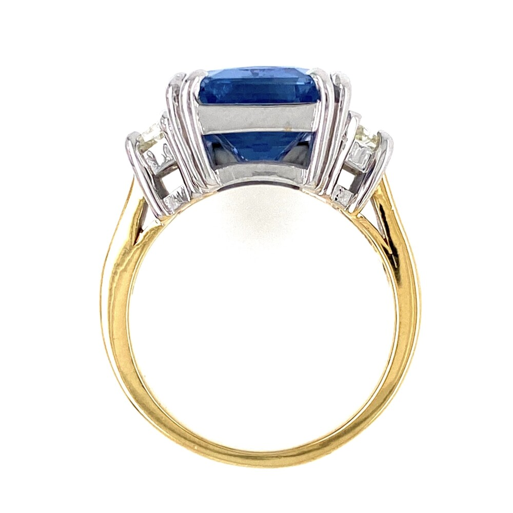 Image 2 for 18K 2tone 10.23ct Octagonal Blue Sapphire Ring GIA#6214109897, .70tcw diamonds 9.5g