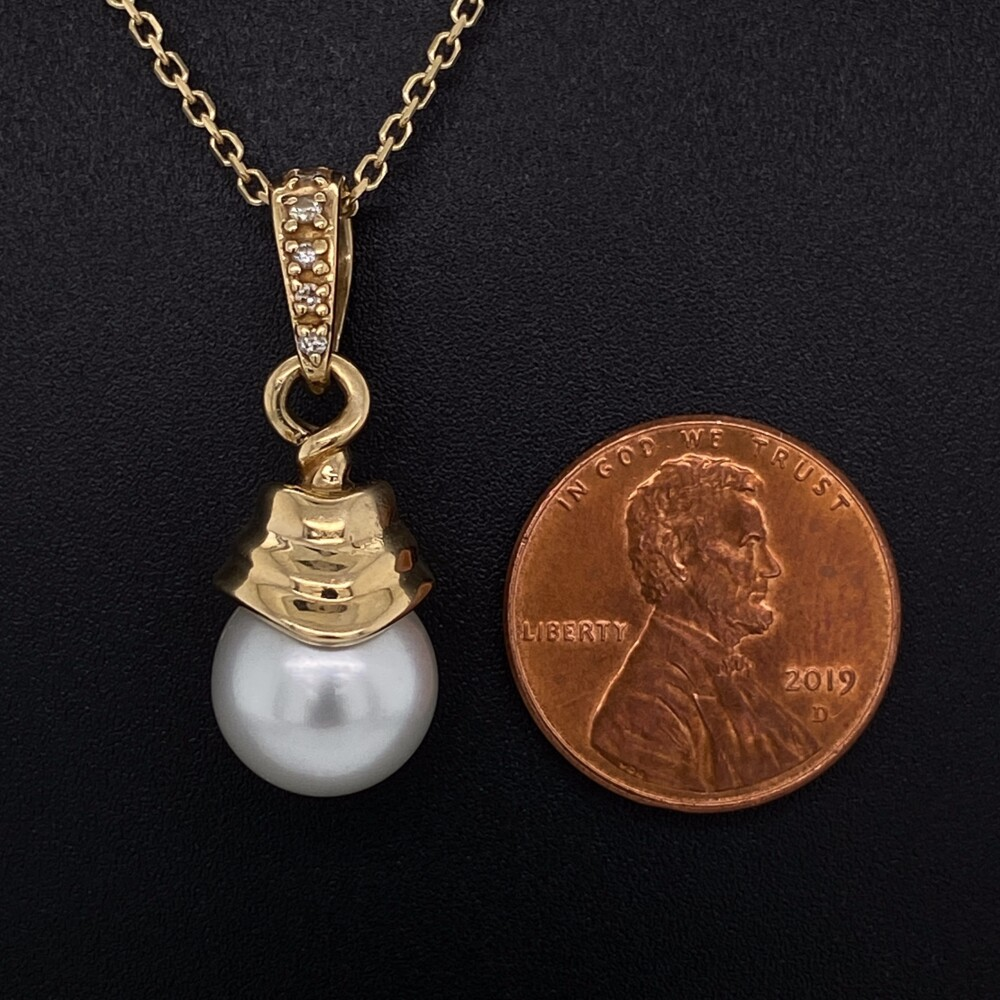 """Image 2 for 14K YG 11.5mm South Sea Pearl & .06tcw Diamond Necklace 7.0g, 16"""""""