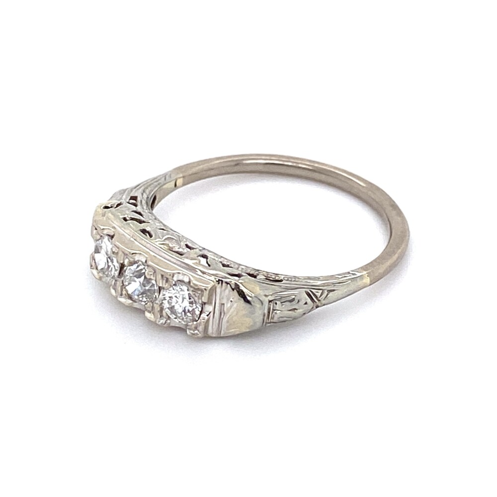 Image 3 for 14K WG Art Deco Filigree 3 Stone Diamond Ring .40tcw 2.8g, s7.75