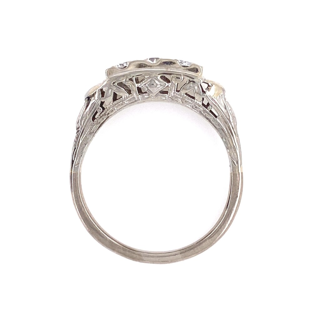 14K WG Art Deco Filigree 3 Stone Diamond Ring .40tcw 2.8g, s7.75