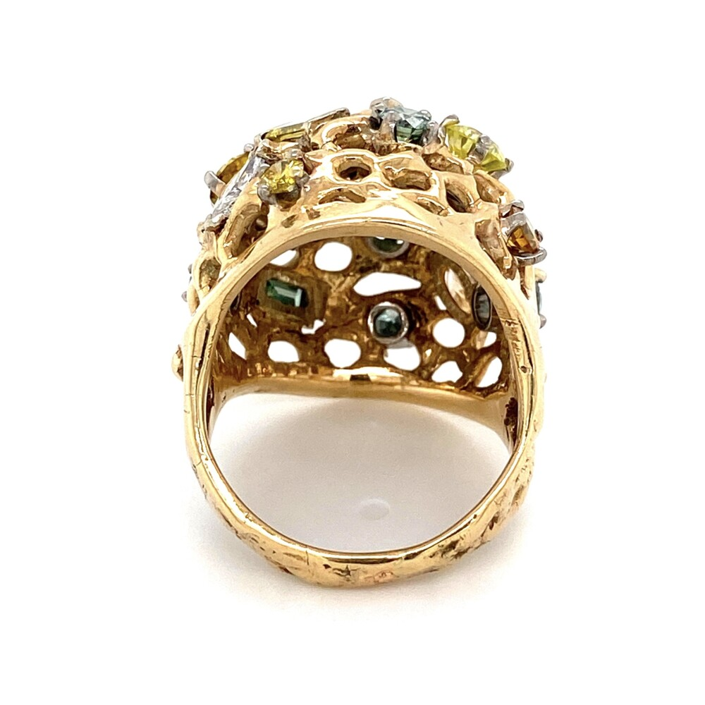 Image 2 for 14K YG 4.07tcw Fancy Colored Diamond Dome Ring 15.9g, s7.5