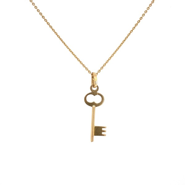 "Closeup photo of 18K YG Italian Key Pendant on Necklace 3.1g, 21.5"""