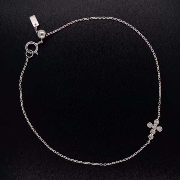 "Closeup photo of 14K WG Bezel Set Diamond Sideways Cross Chain Bracelet 7"""