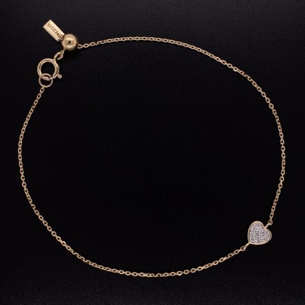 """Closeup photo of 14K YG Tiny Heart Pave Diamond Bracelet 7"""""""