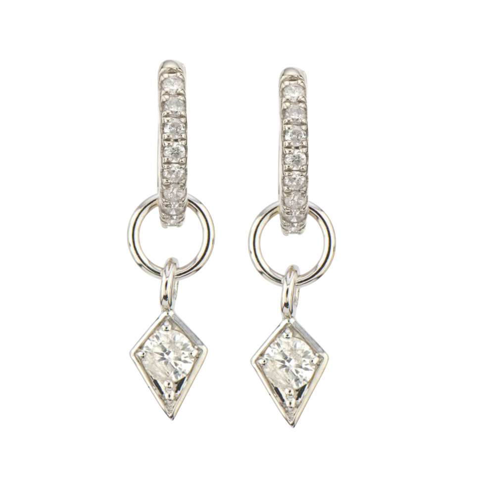 14K WG Diamond Kite Earring Charm Pair