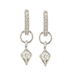 Closeup photo of 14K WG Diamond Kite Earring Charm Pair