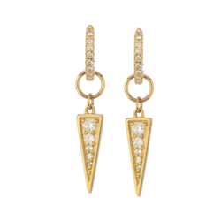 Closeup photo of 14K YG Diamond Dagger Earring Charm Pair