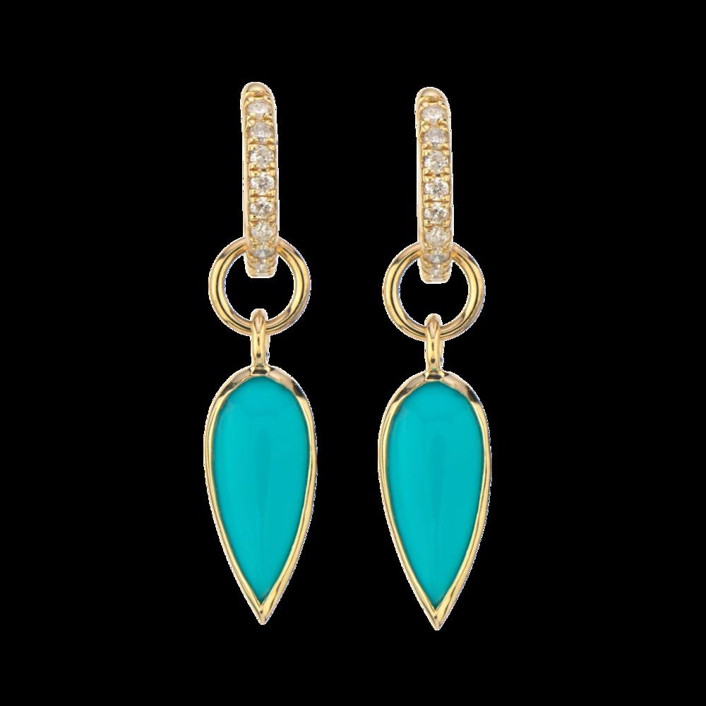 14K YG Tiny Teardrop Turquoise Earring Charm Pair