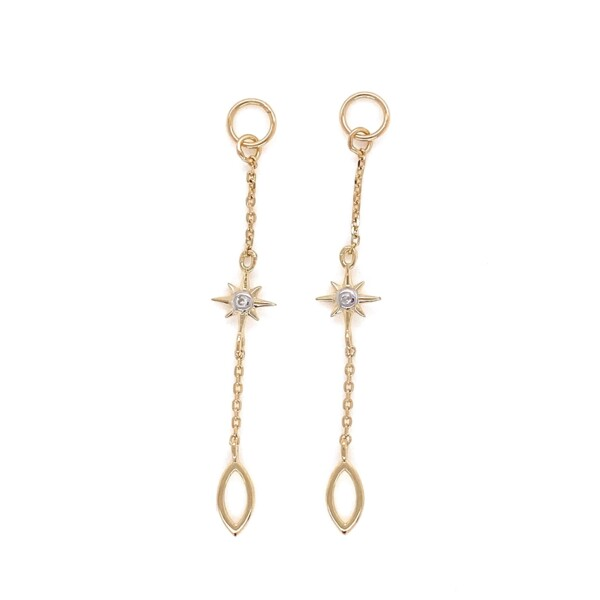 Closeup photo of 14K YG Long Chain Diamond Starburst Earring Charm Pair