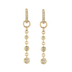 Closeup photo of 14K YG Long Chain Bezel Set Diamond Earring Charm Pair