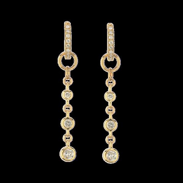 Closeup photo of 14K YG Long Chain Bezel Set Diamond Earring Charm Pair