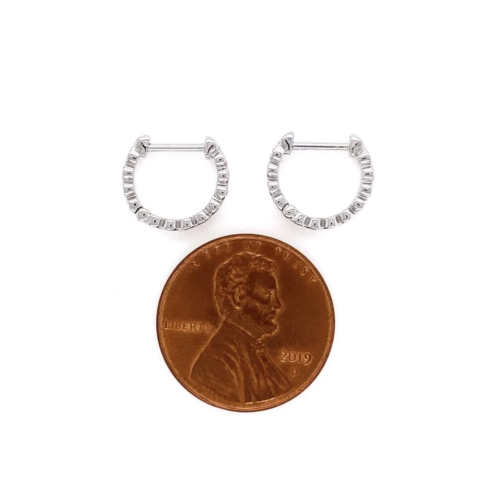 14K WG 11mm Diamond Pave Pairs of Hoops