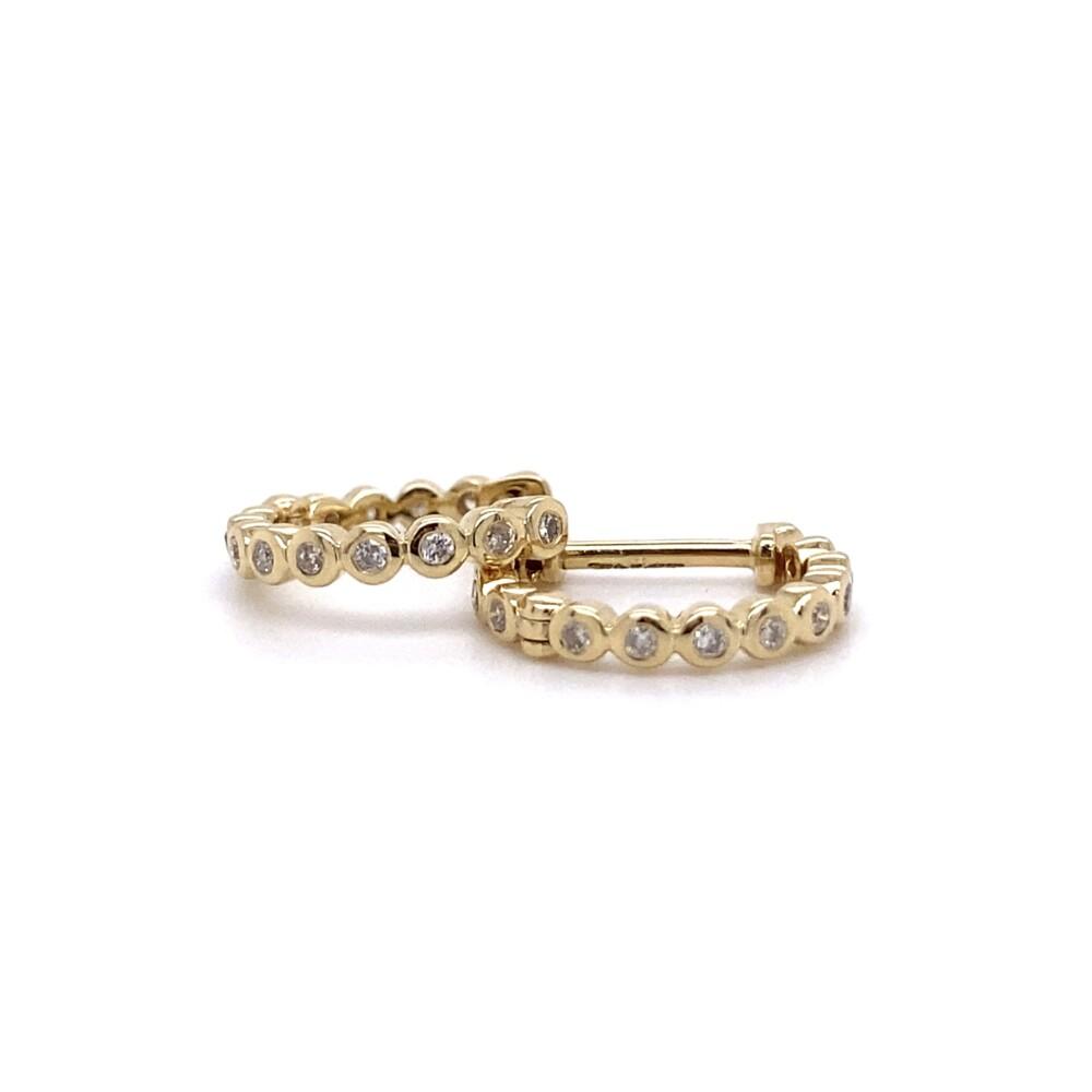 14K YG 11mm Diamond Pave Pair of Hoops