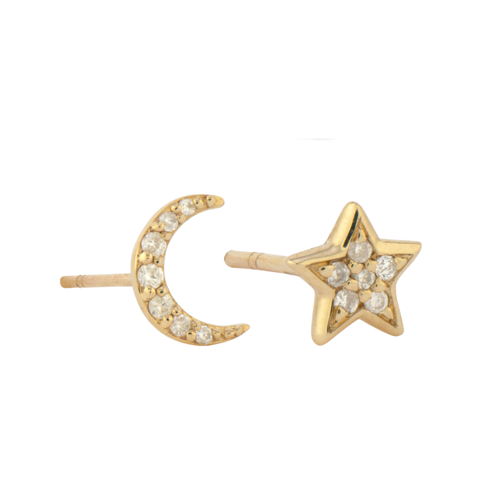 14K YG Pave Diamond Moon & Star Stud