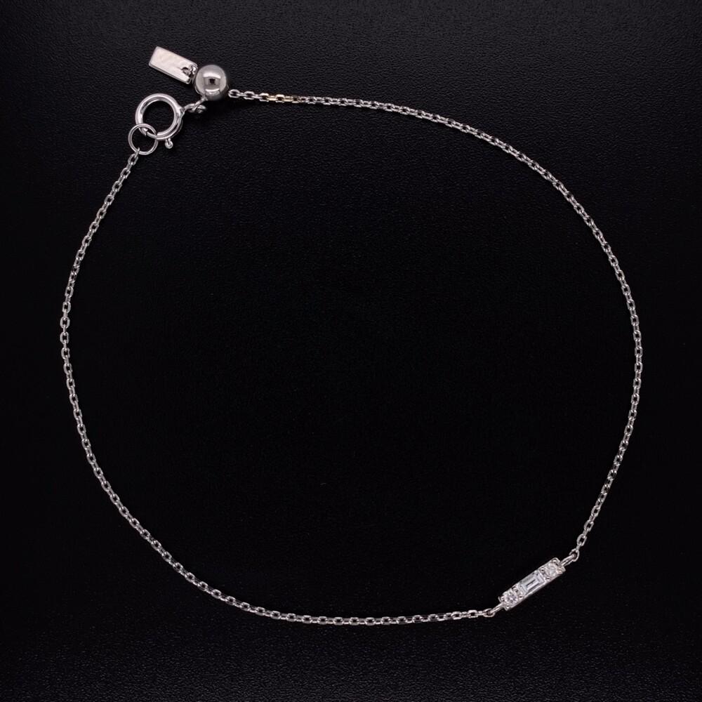 """14K WG Baguette Diamond Bar Bracelet 7"""""""
