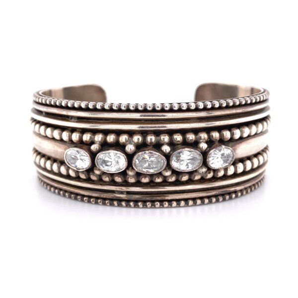Closeup photo of 925 Sterling Beaded Cuff with Oval CZ's 63.3g
