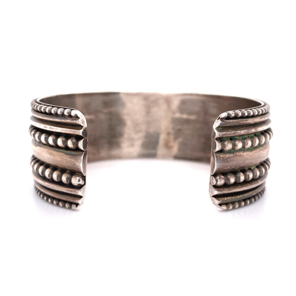 925 Sterling Beaded Cuff with Oval CZ's 63.3g