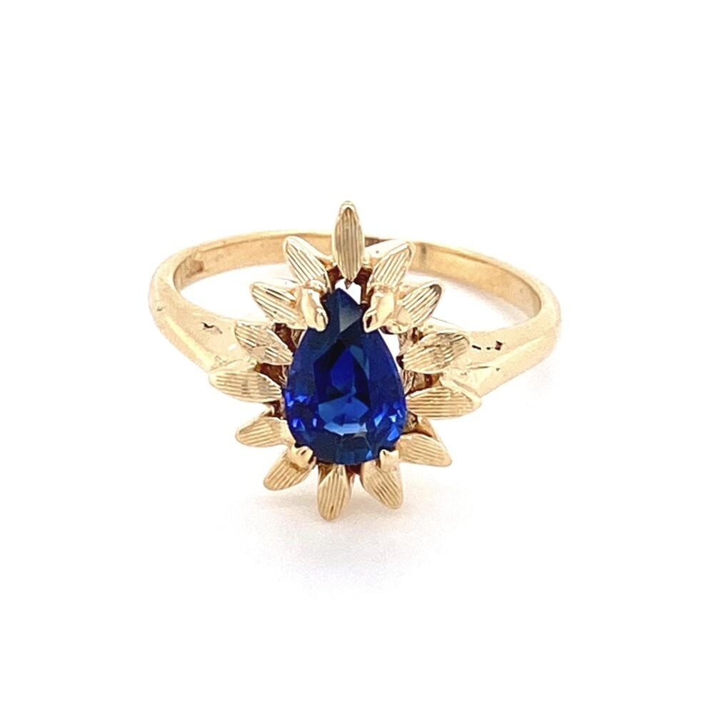 Image 2 for 14K YG .97ct Pear Shape Sapphire in Flower Bezel Ring 3.3g, s5.75