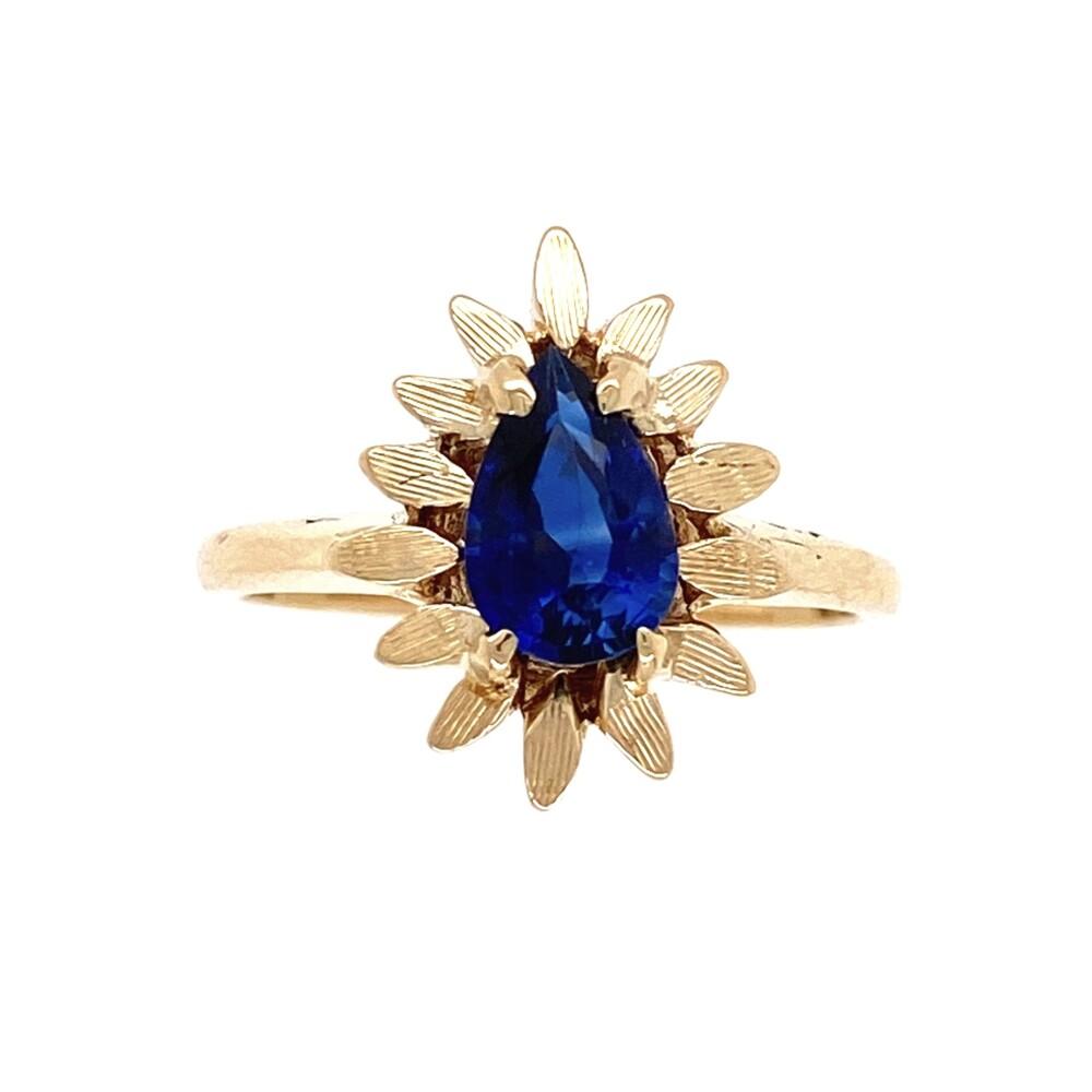 14K YG .97ct Pear Shape Sapphire in Flower Bezel Ring 3.3g, s5.75