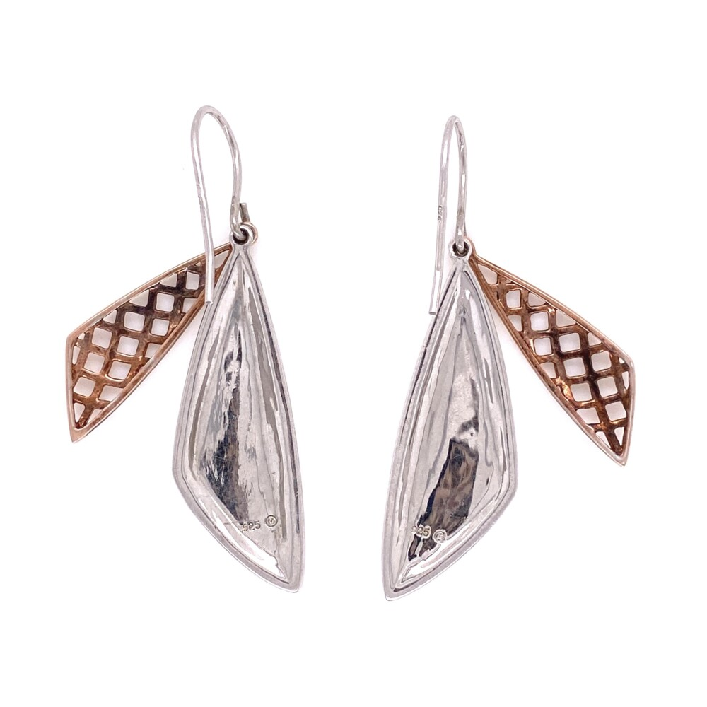 Image 2 for 925 Sterling Sail Wire Earrings Rose Gold Cover 6.8g, 1.75""