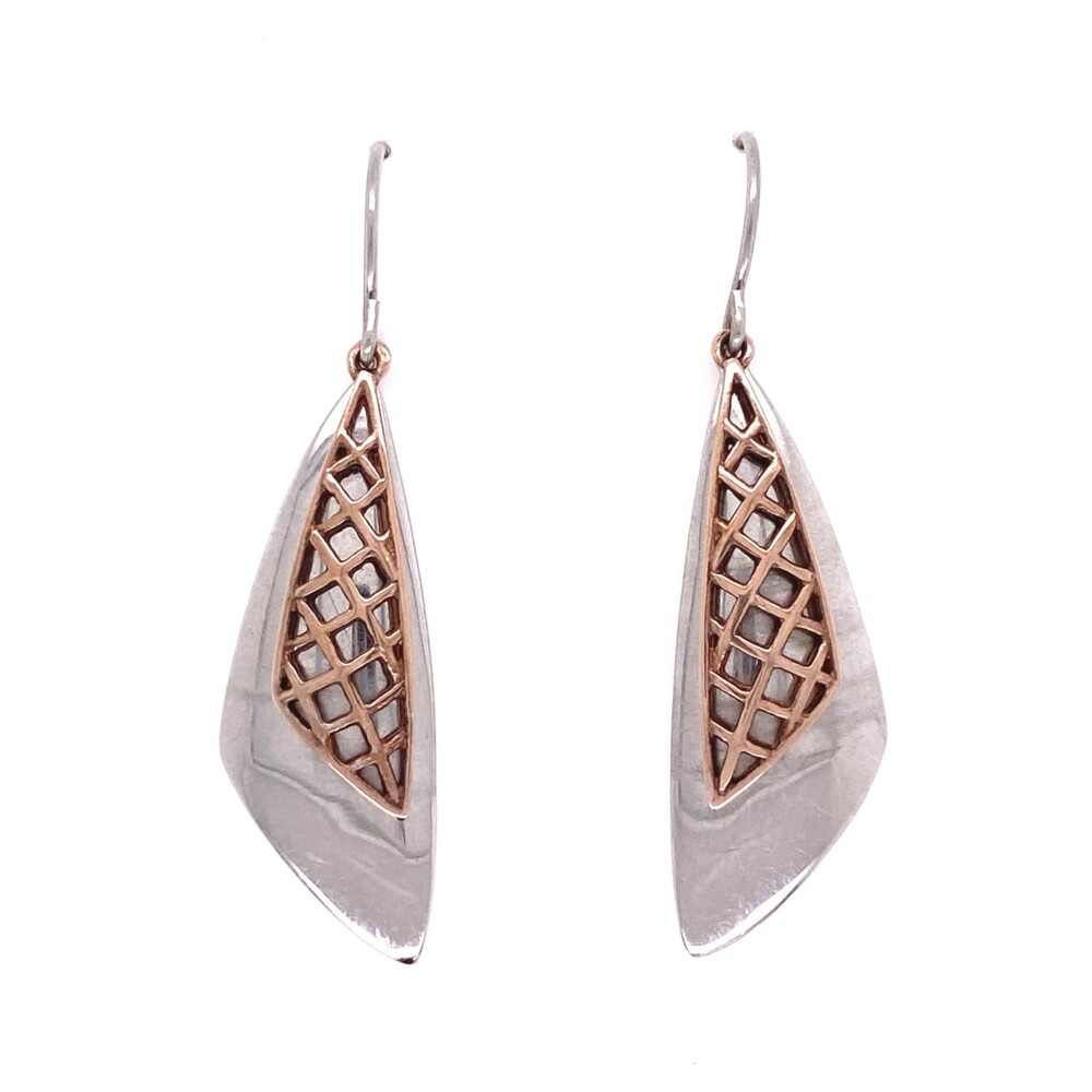 925 Sterling Sail Wire Earrings Rose Gold Cover 6.8g, 1.75""