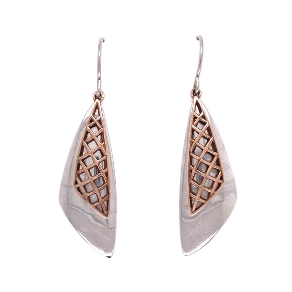 Closeup photo of 925 Sterling Sail Wire Earrings Rose Gold Cover 6.8g, 1.75""