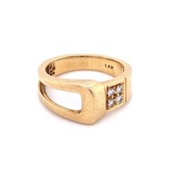 Closeup photo of 14K YG Buckle Style Ring .09tcw Diamond Ring 4.9g, s6