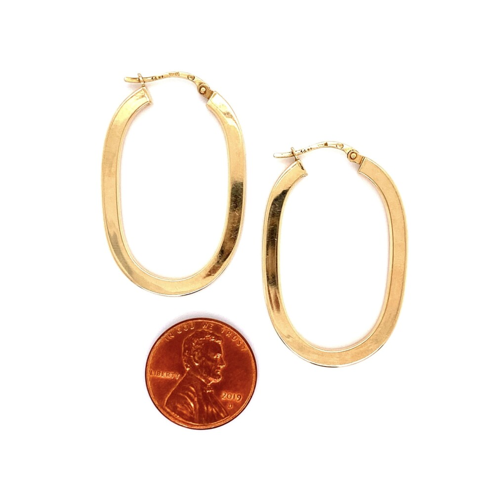 """14K YG Italian Hollow Oval Square Hoops 3.0g, 1.5"""" Tall"""