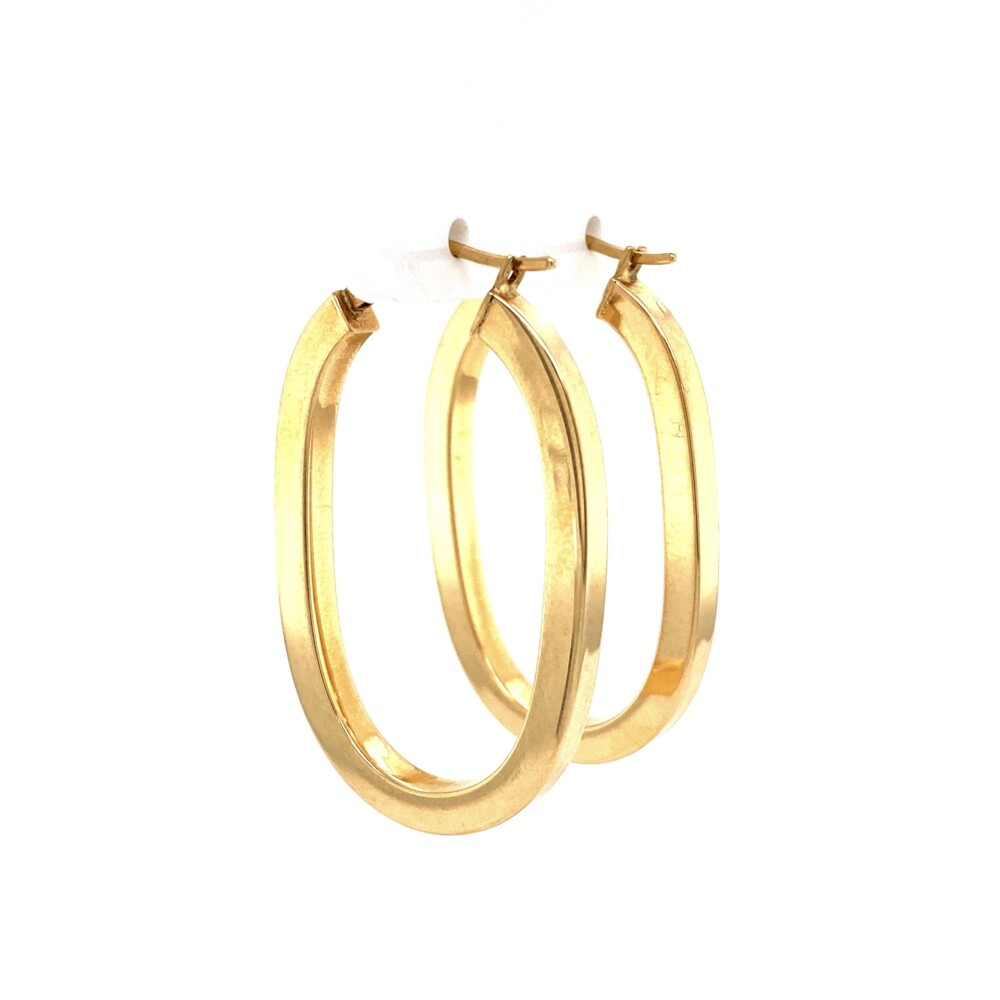 """Image 2 for 14K YG Italian Hollow Oval Square Hoops 3.0g, 1.5"""" Tall"""
