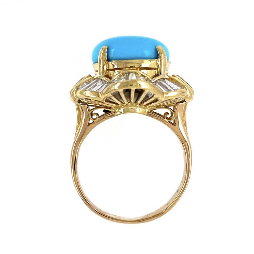 18K YG 4.60ct Cabochon Turquoise & 2.12tcw Diamond Ring 8.5g, s4.5