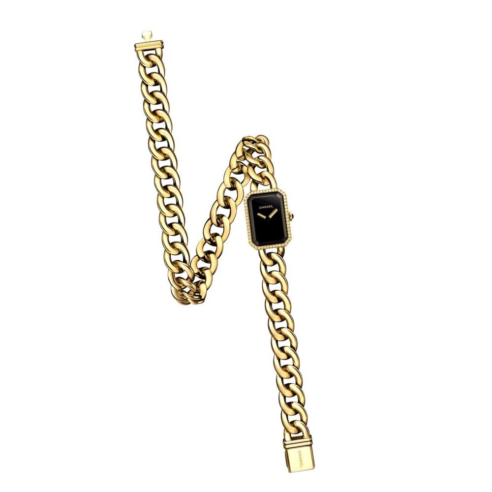 18K YG Chanel H3750 Diamond Watch Double Wrap Curb Link Bracelet