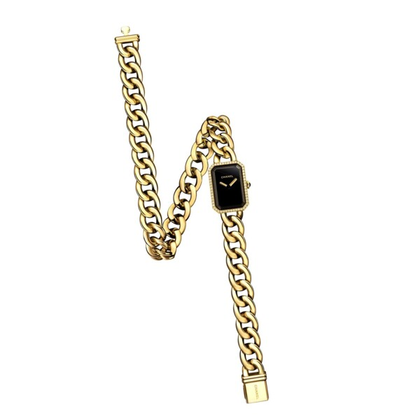Closeup photo of 18K YG Chanel H3750 Diamond Watch Double Wrap Curb Link Bracelet