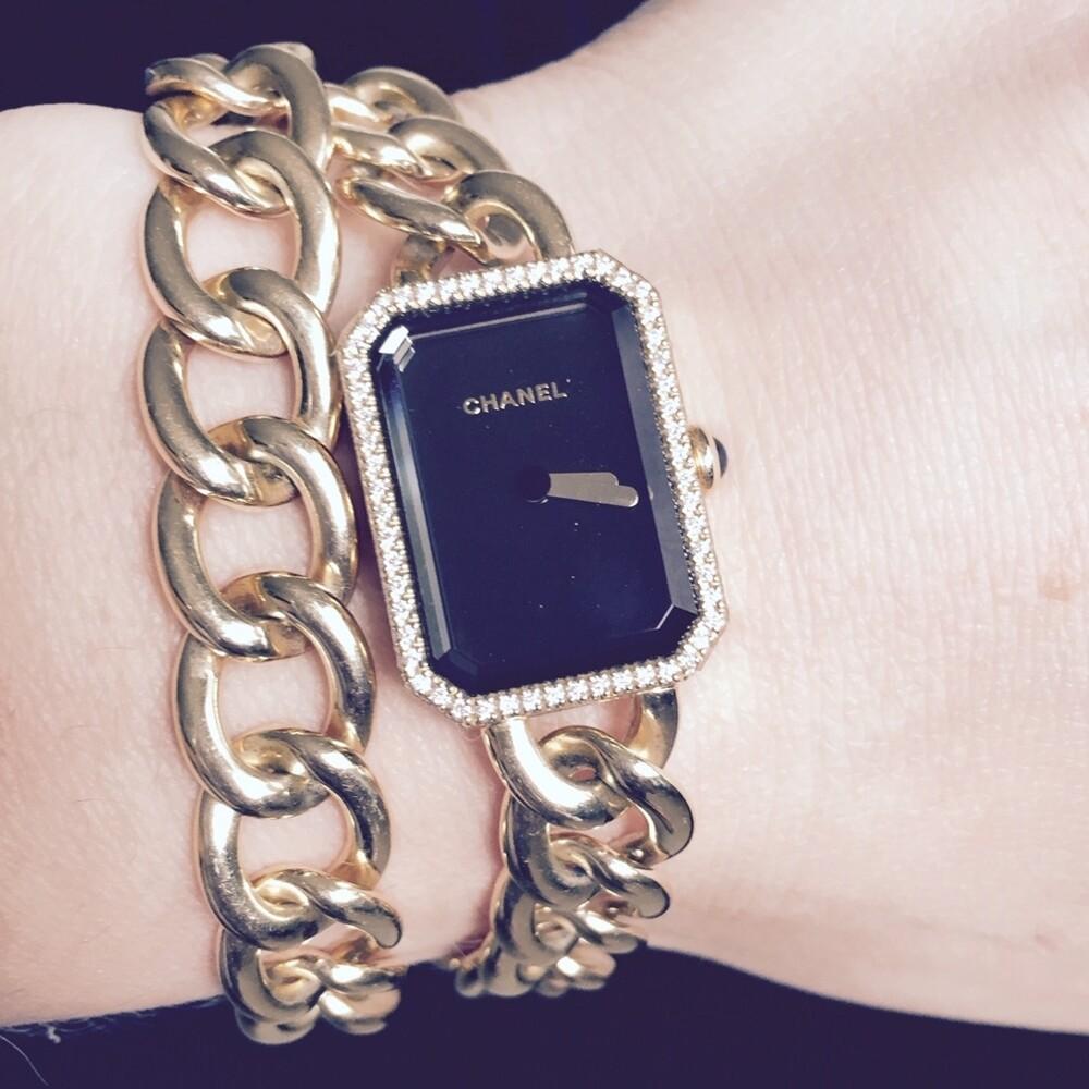 Image 2 for 18K YG Chanel H3750 Diamond Watch Double Wrap Curb Link Bracelet