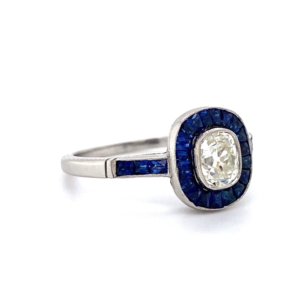Platinum .60ct Old Mine Diamond & Sapphire Surround Ring 3.7g, s6.5