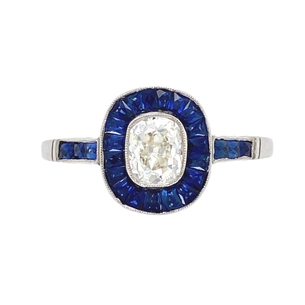 Image 2 for Platinum .60ct Old Mine Diamond & Sapphire Surround Ring 3.7g, s6.5
