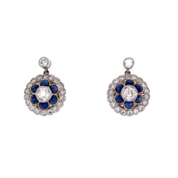 Closeup photo of Platinum Edwardian .95tcw Diamond & Buff-Top Sapphire Earrings 5.2g