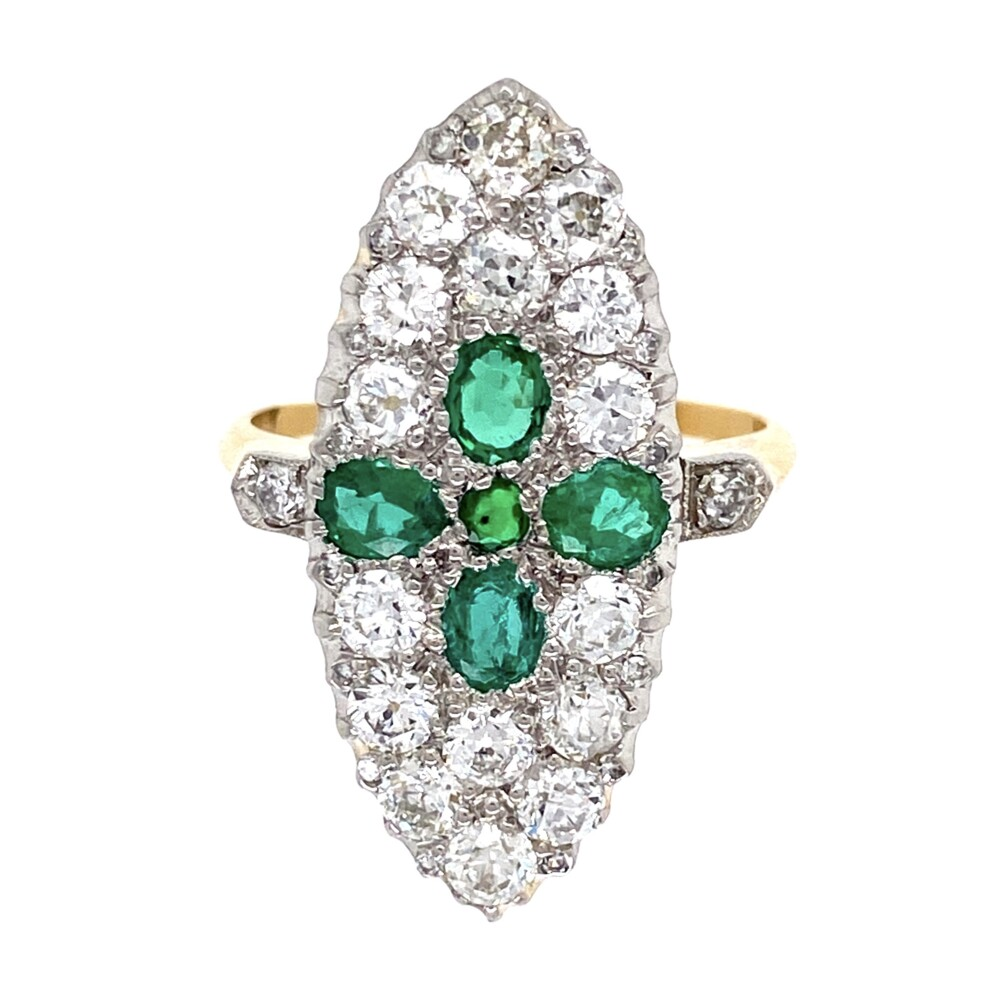 Image 2 for Edwardian Platinum on 18K Emerald & 1.40tcw Diamond Ring 5.3g, s7