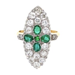 Closeup photo of Edwardian Platinum on 18K Emerald & 1.40tcw Diamond Ring 5.3g, s7