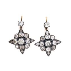 "Closeup photo of Victorian Silver on 18K 3.55tcw Diamond Star Earrings 5.1g, 1.2"" Tall"