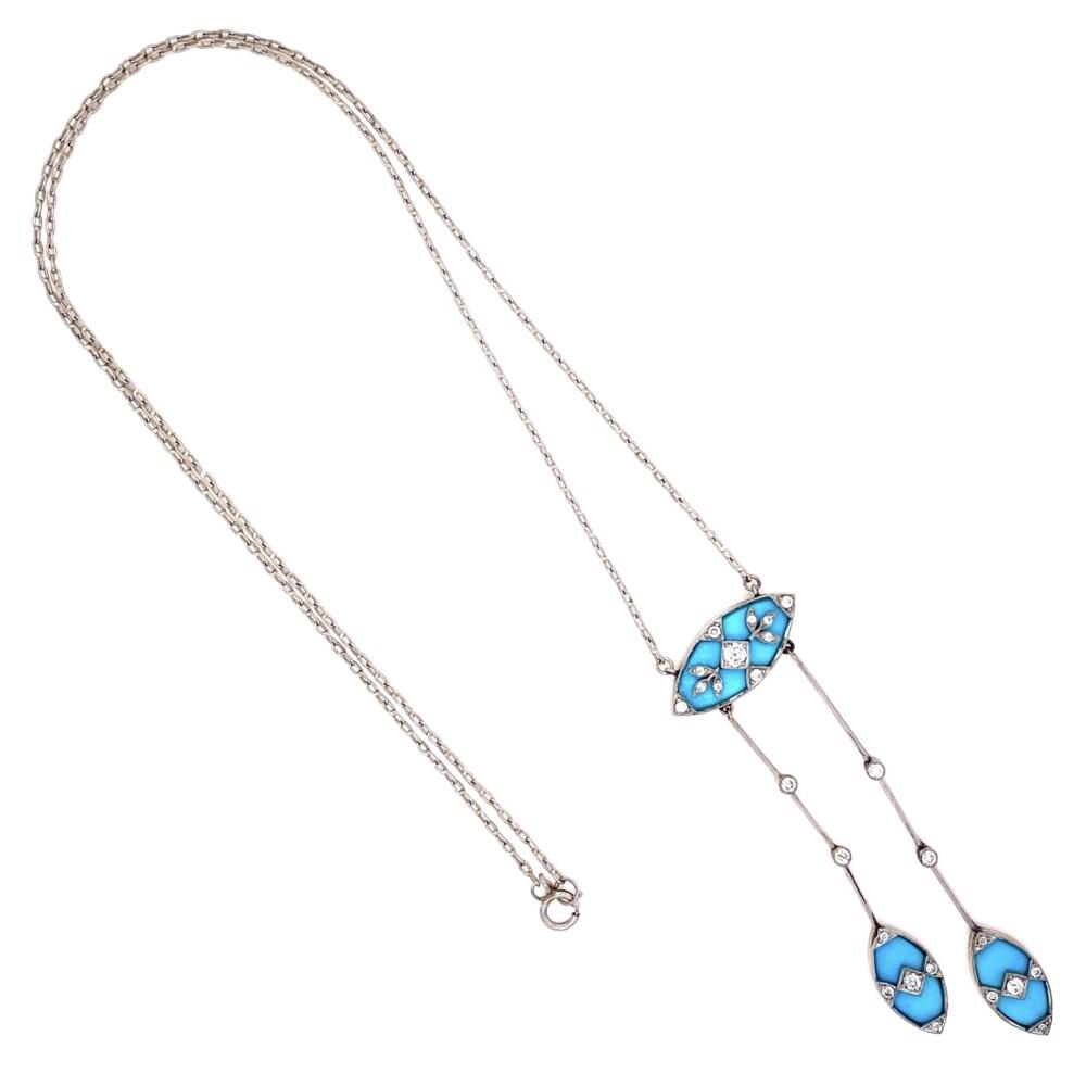 "Edwardian Platinum on 18K Diamond & Turquoise Pendant 8.8g, 19"" Chain"