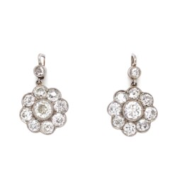 "Closeup photo of Platinum Edwardian 4.20tcw Diamond Cluster Drop Earrings 5.4g, 7/8"" Tall"