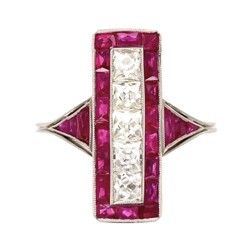 Closeup photo of Platinum Art Deco French Cut Diamond & Ruby Long Ring 4.7g, s7.75