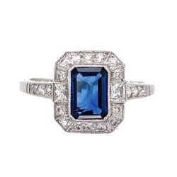 Closeup photo of Platinum Handmade 1ct Sapphire & .36tcw Diamond Ring 4.0g, s6.75