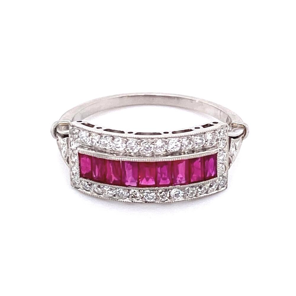 Platinum French Cut Ruby & Diamond Band 3.5g, s7.25
