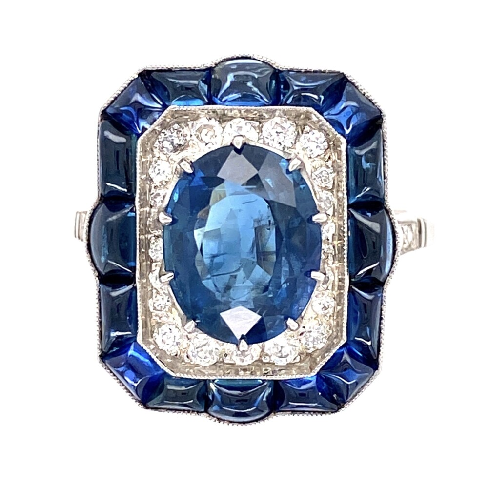 Image 2 for Platinum 6.00tcw Sapphire & .35tcw Diamond Ring 7.3g, s7.5