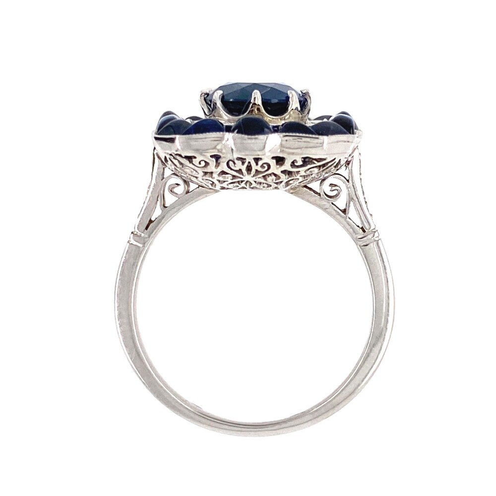 Platinum 6.00tcw Sapphire & .35tcw Diamond Ring 7.3g, s7.5