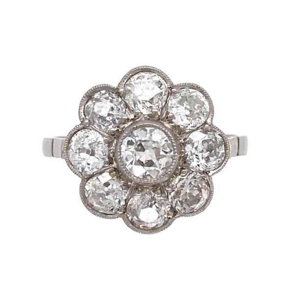 Closeup photo of Platinum Edwardian 1.90tcw Diamond Cluster Ring 3.2g, s6.5