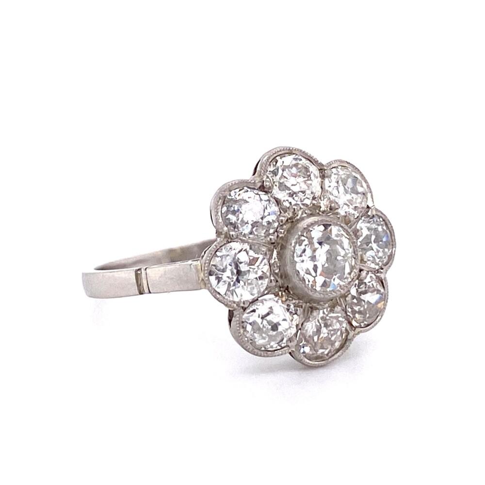 Platinum Edwardian 1.90tcw Diamond Cluster Ring 3.2g, s6.5