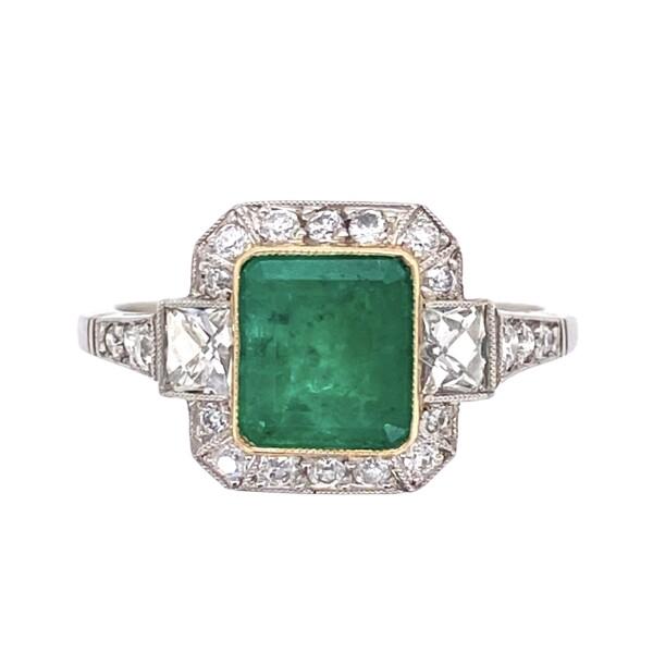 Closeup photo of Platinum Handmade 1.22ct Emerald & .60tcw Diamond Ring 3.7g, s6.75